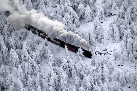 Train on the narrow-gauge railway in the Harz Mountains, Northern Germany.Photo: EPA / ITAR-TASS